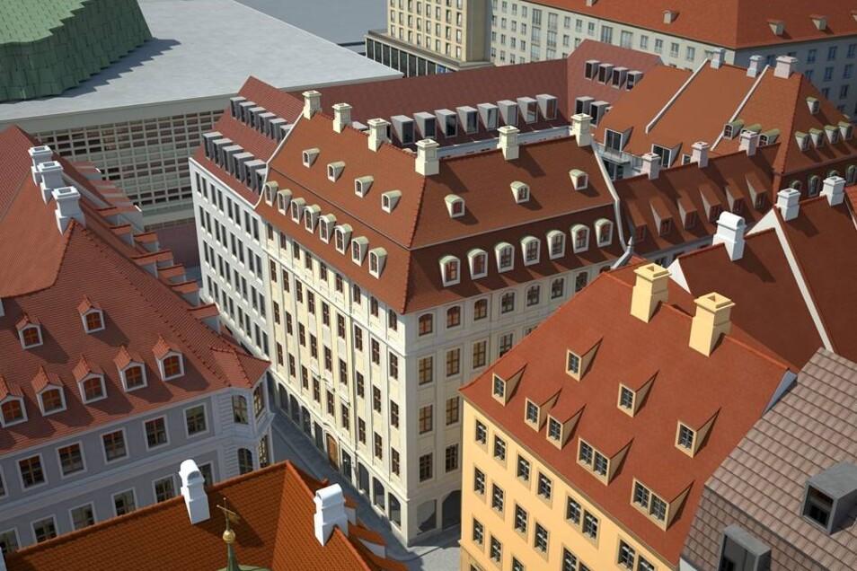 """Blick auf das neue """"Carré Schlossstraße"""" hinter dem Kulturpalast."""