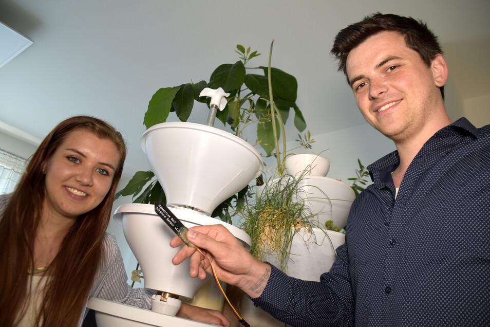 Wie es ohne grünen Daumen grünt, haben sich Marlen Walther und Pawel Nestorowicz (r.) ausgedacht. Ihr vollautomatisches Bewässerungssystem ist bald zu haben.