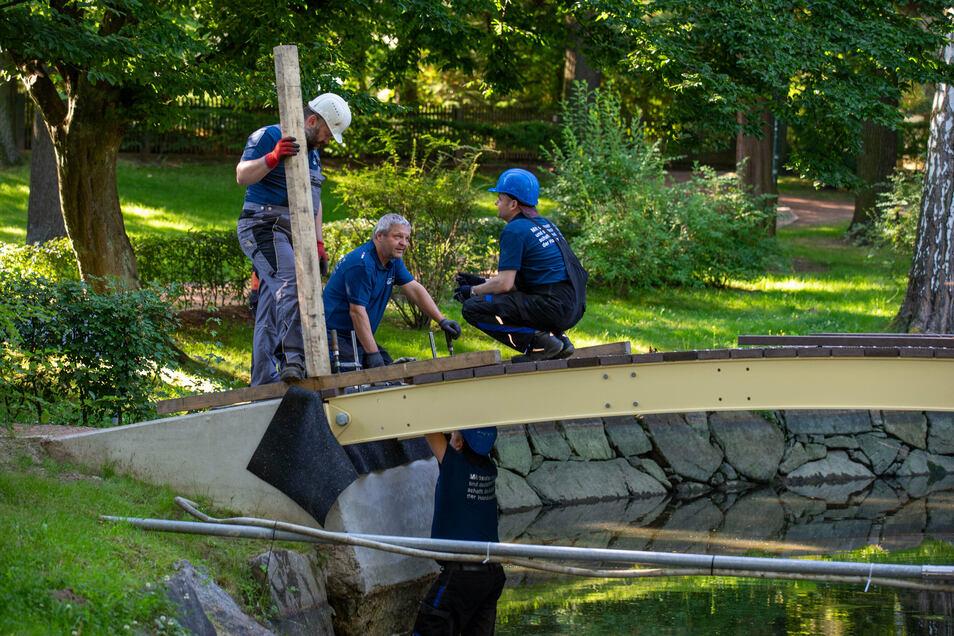 Fachleute bauen die Rundbogenbrücke im Stadtpark Neustadt ein.