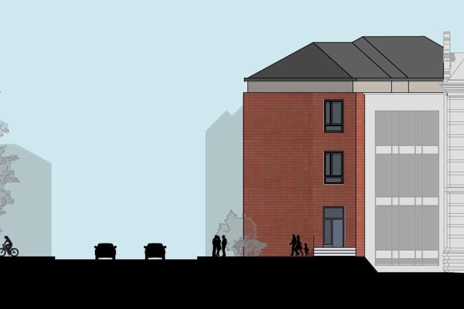 So soll der Neubau aus Richtung Stadtring aussehen. Rechts der bereits errichtete Zwischenbau.