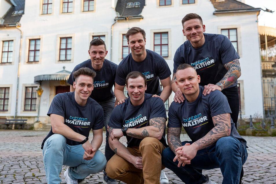 Das Bobteam: Eric Franke, Nico Walther, Paul Krenz, Kevin Korona, Alexander Rödiger und Philipp Wobeto (v.o.l.n.u.r.).