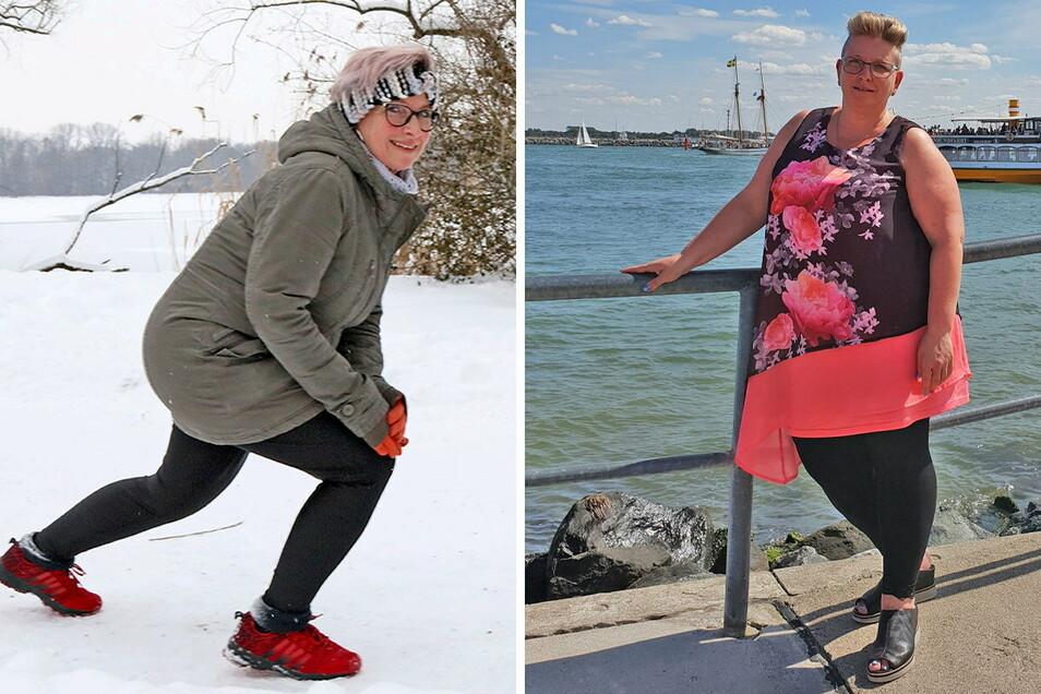 40 Kilo liegen zwischen dem Foto heute und vor anderthalb Jahren (rechts). Brita Kießling kann sich ein Leben ohne Sport nicht mehr vorstellen.