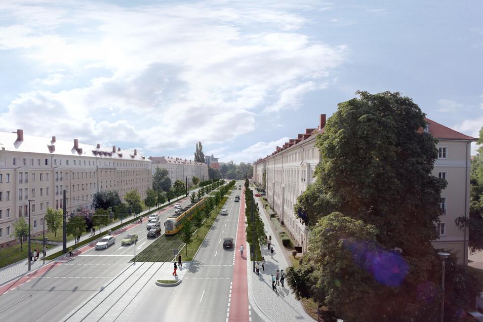 So soll die Nürnberger Straße kurz vor dem Nürnberger Ei einmal aussehen - mit der Straßenbahn in der Mitte.