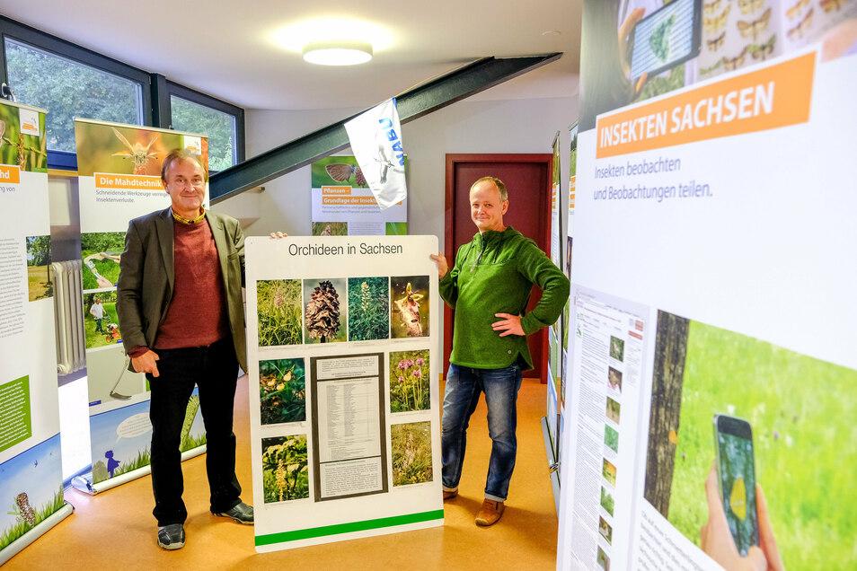 Jan Schimkat (links) und Lutz Hennig, der auch vor Ort sein wird, weihten am Wochenende die neue Naturschutzstation im Roten Haus in Dippelsdorf ein.