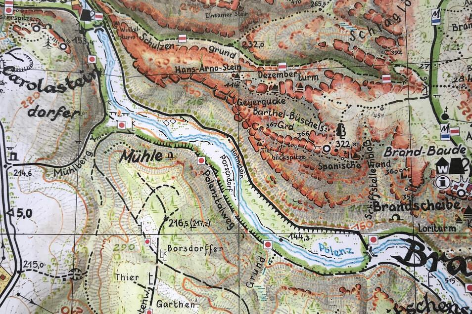 Polenztal zwischen Porschdorf und Waltersdorfer Mühle: Die Karte ist nicht mehr aktuell. Der Weg am westlichen Flussufer ist gesperrt, die Markierung roter Punkt verläuft jetzt komplett auf der Ostseite.