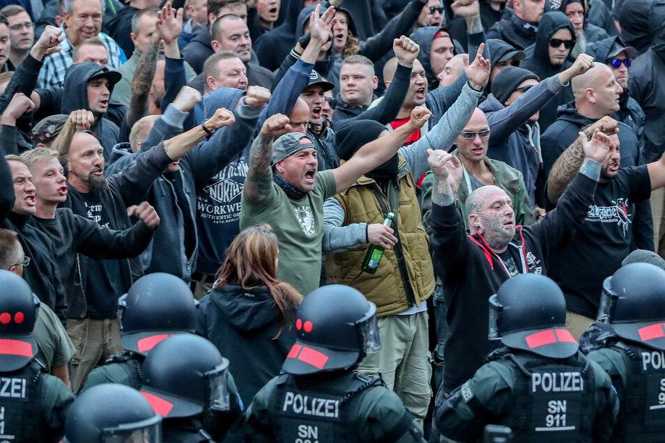 Demonstration in Chemnitz Ende August 2018.
