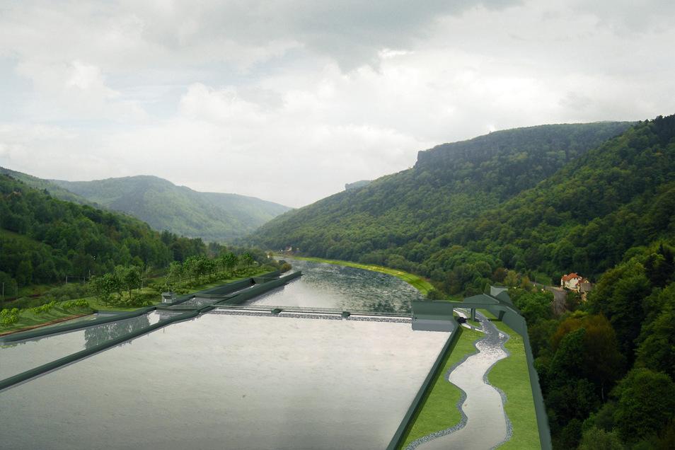 Eine Illustration der geplanten Staustufe bei Decin. Die Stufe soll aus einem 6,50 Meter hohen Wehr nebst Schleuse, Wasserkraftwerk und Fischkorridoren bestehen.