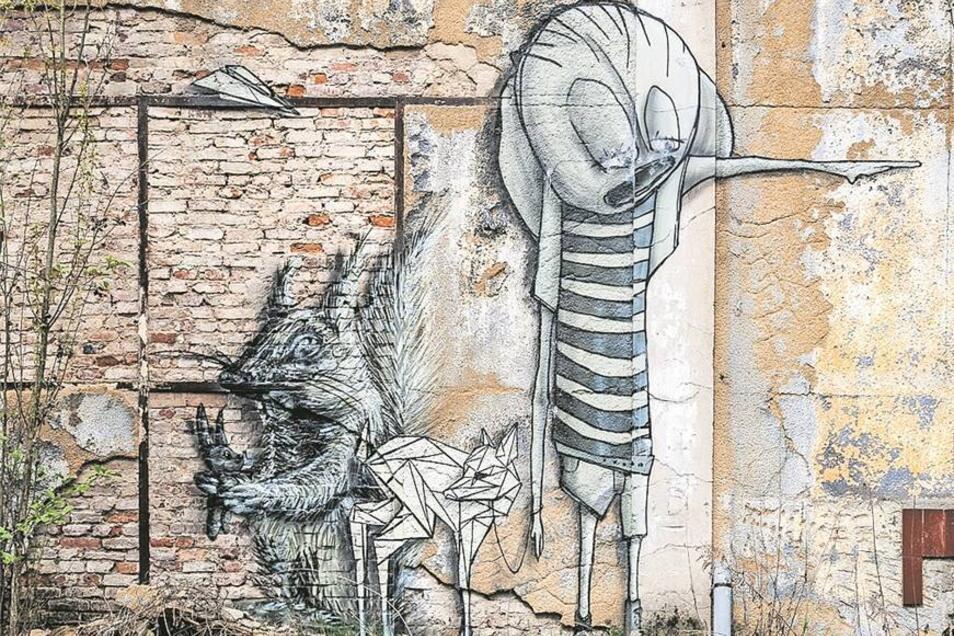 In manchen seiner Aufnahmen begegnen sich bei Burkhard Schade alte Bausubstanz und zeitgenössische Graffiti.