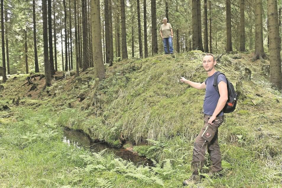 Die Archäologin Christiane Hemker steht auf der Höhe des natürlichen Waldbodens, ihr Kollege Matthias Schubert zeigt auf die Abbaukante eines 4.000 Jahre alten Zinnseifenbergwerks.