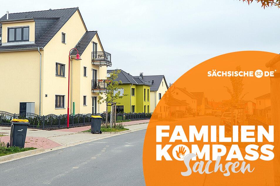 Wohnhäuser in der Heinrich-von-Taube-Straße in Bannewitz. Das Wohnen in Bannewitz soll nach Umfragen für den Familienkompass nicht nur schwierig sondern auch teuer sein.