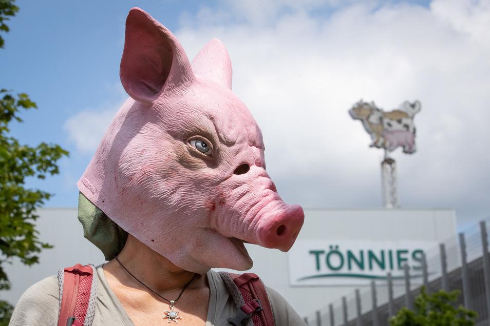 Eine Person trägt eine Schweine-Maske und steht während einer Demonstration gegen Tierquälerei vor dem Betriebsgelände der Fleischfabrik Tönnies. Tönnies muss seinen Hauptproduktionsbetrieb in Rheda-Wiedenbrück in Westfalen bis auf weiteres herunterfahren
