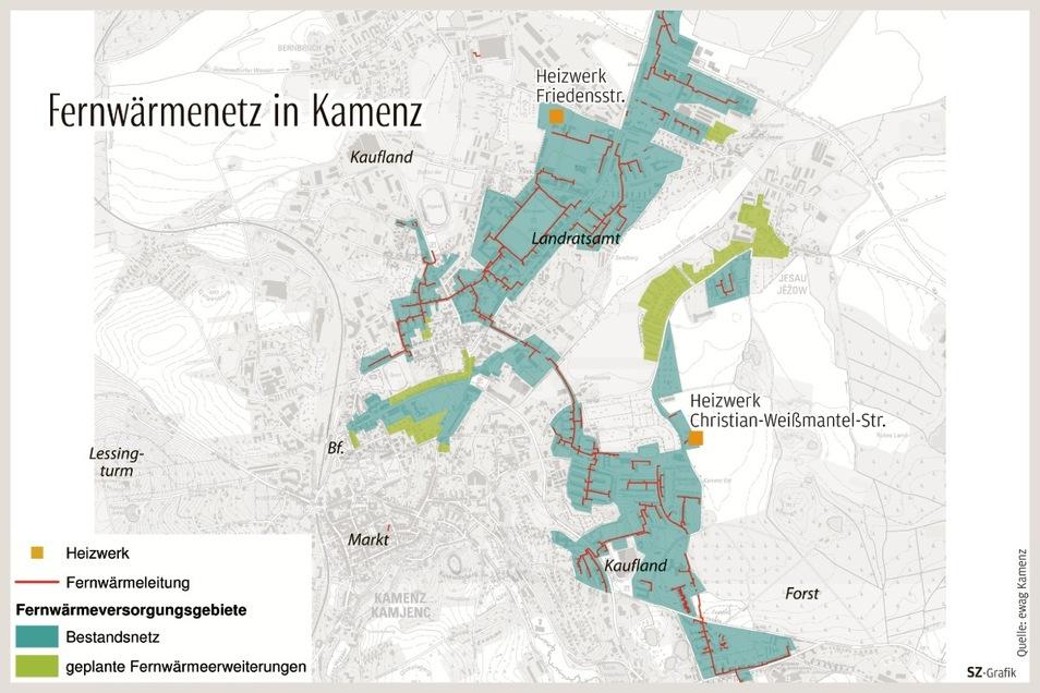In den hellgrün dargestellten Gebieten soll das Kamenzer Fernwärmenetz in den kommenden Jahren erweitert werden.
