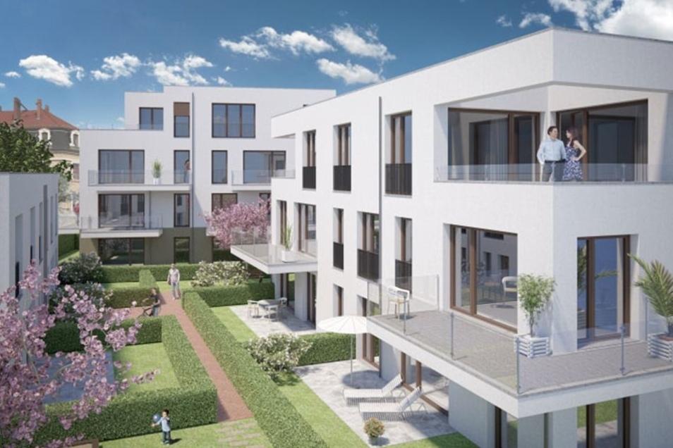 In dem hofähnlichen Ensemble sollen 18 Eigentumswohnungen entstehen.