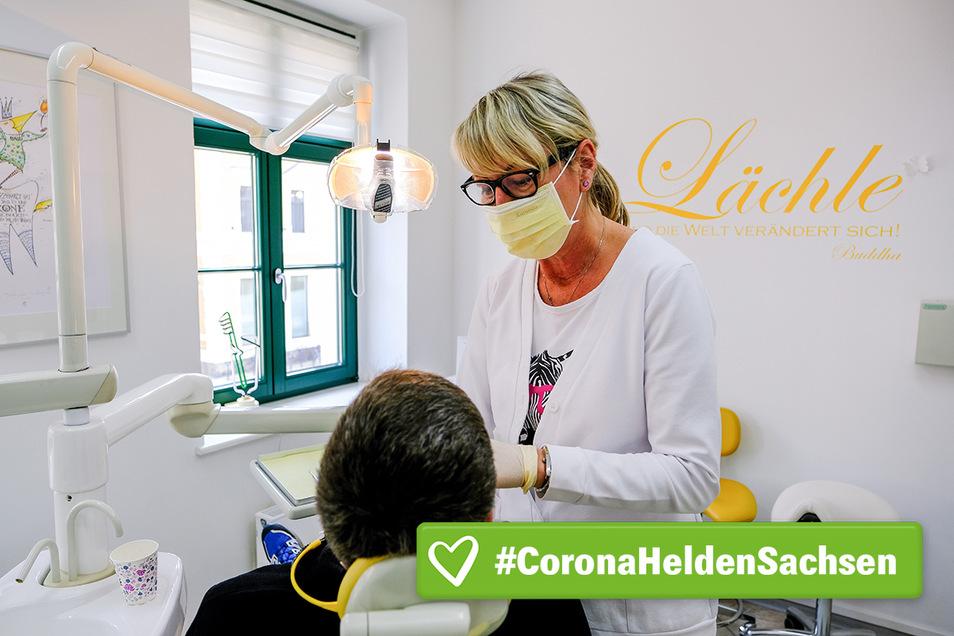 Zahnärztin Grit Pecina in Radebeul und ihre Schwestern bewahren die Ruhe und helfen, wenn der Zahn schmerzt.