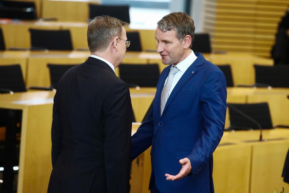 Björn Höcke (rechts) will gegen Thüringens Ministerpräsident Bodo Ramelow antreten.
