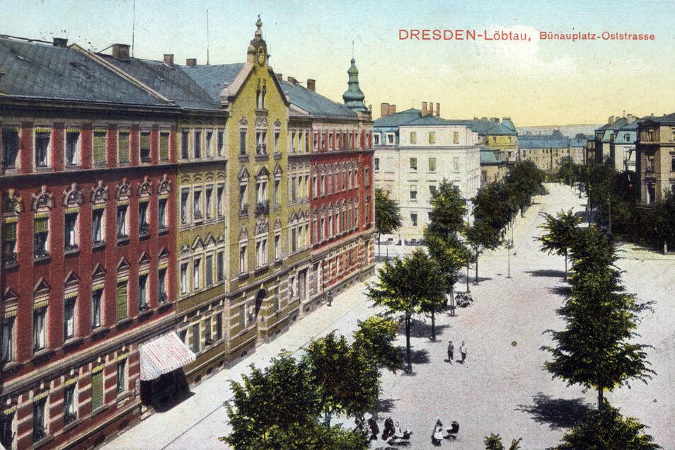Auf dieser Postkarte sind junge Bäume am Löbtauer Bünauplatz zu sehen.