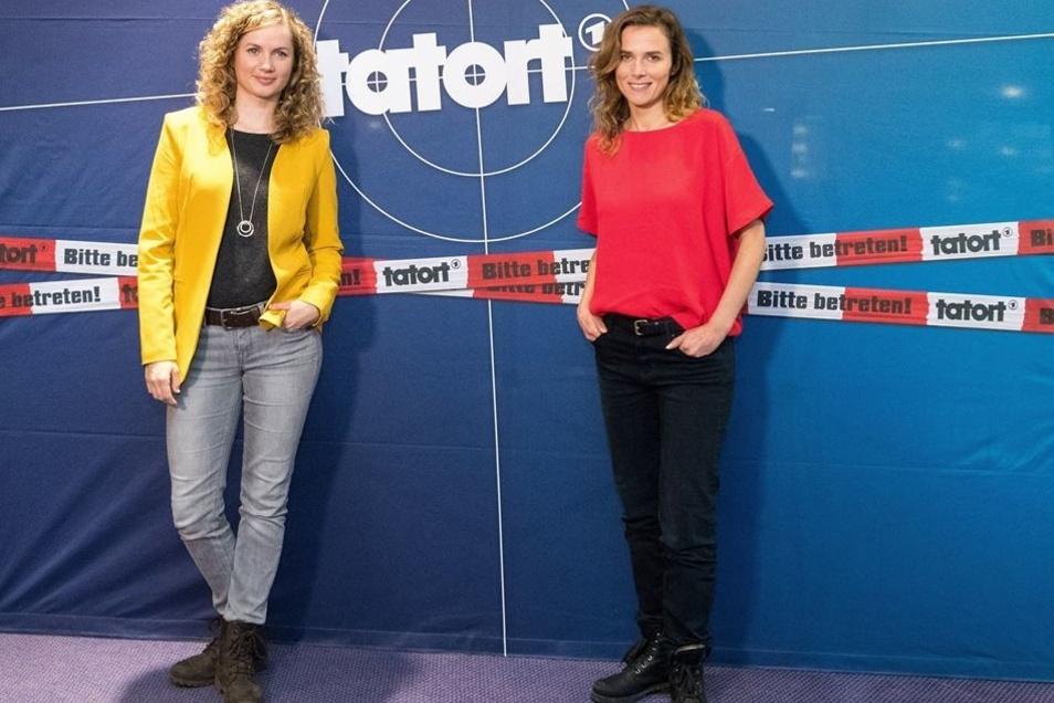 Auch die Ermittler waren in der Elblandklinik: Karin Hanczewski als Oberkommissarin Karin Gorniak und die Neue im Dresdner Revier Cornelia Gröschel.