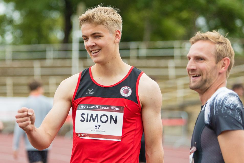 Der Sieger über die 100 Meter heißt Simon Wulff und kommt vom Dresdner SC. Rechts EM-Medaillengewinner Lucas Jakubczyk.