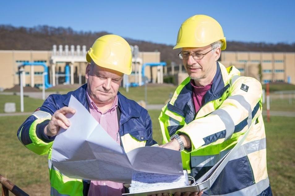 Rüdiger Opitz (l.) und Planer Thomas Wenke auf dem bestehenden Hosterwitzer Deich. Um die Gebäude soll ein weiterer Schutzwall gebaut werden.