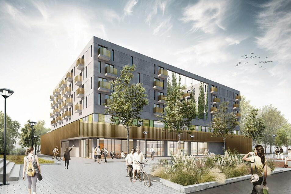 So soll das Apartmenthaus, in dem Platz für für 179 Studentenwohnungen ist, an der Seite zum Amalie-Dietrich-Platz aussehen.