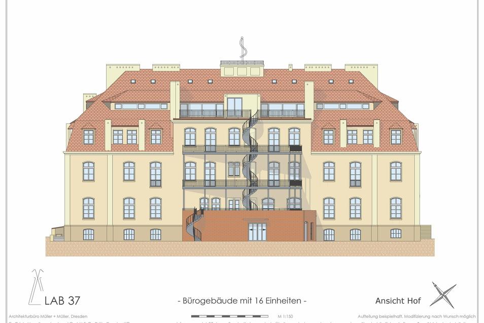 Auf der Rückseite wird der Eingang für die Mitarbeiter der Firmen sein, hier werden die Balkone angebaut.