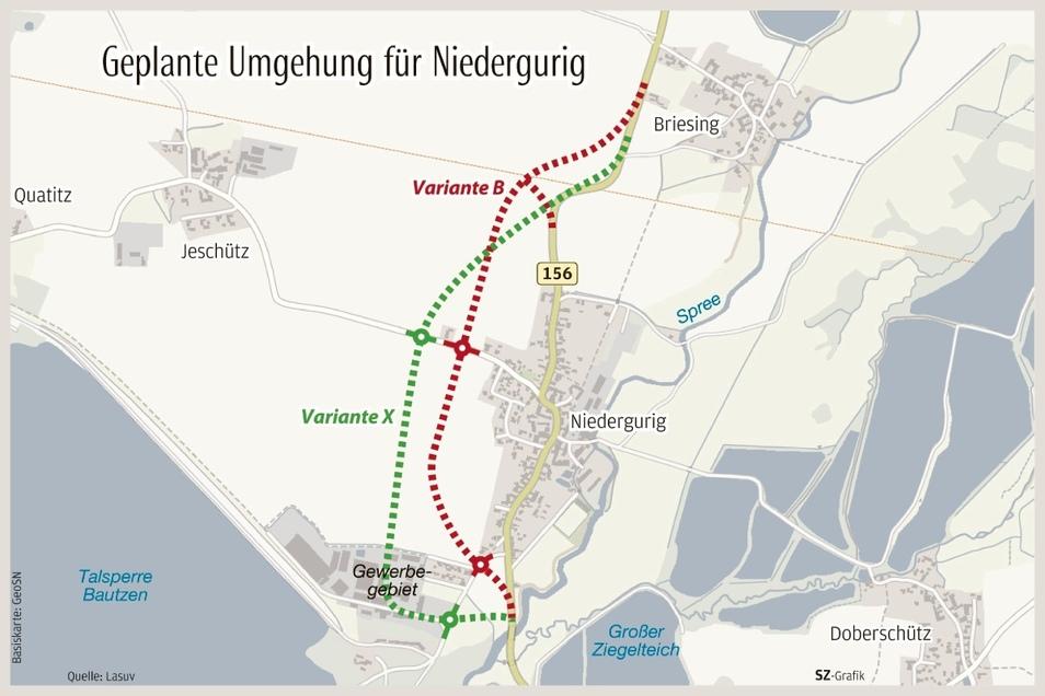 Nach den Plänen des Lasuv wird die Niederguriger Ortsumgehung zwei Kreisverkehre bekommen und den Ort in drei Teile schneiden - die einzige Lösung, um die Straße durch das Naturschutzgebiet überhaupt bauen zu können, wie das Amt versichert. Anwohner schla