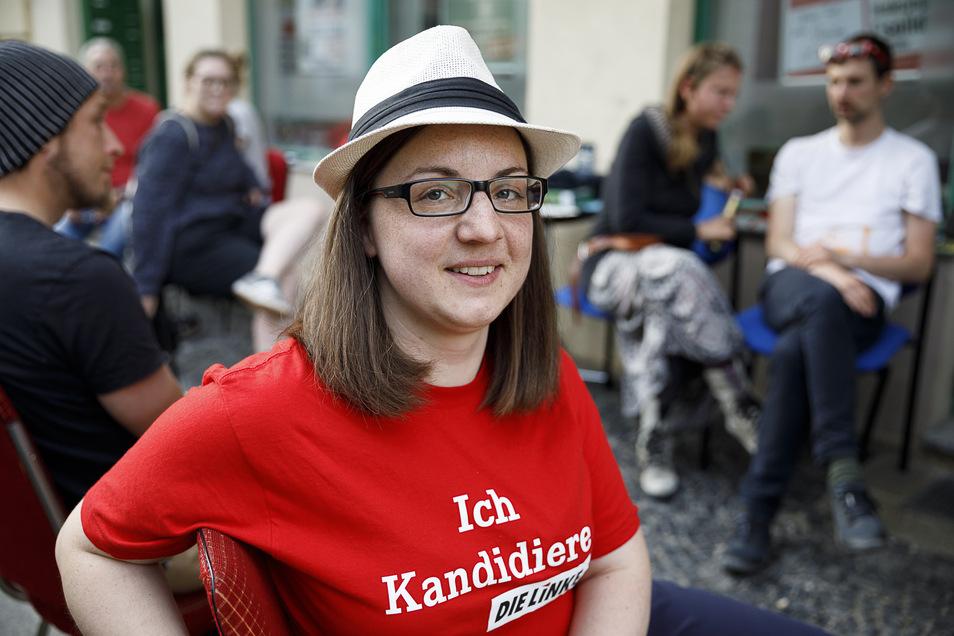 ...feierte ihre Wahlparty im Büro der Linken an der Schulstraße.