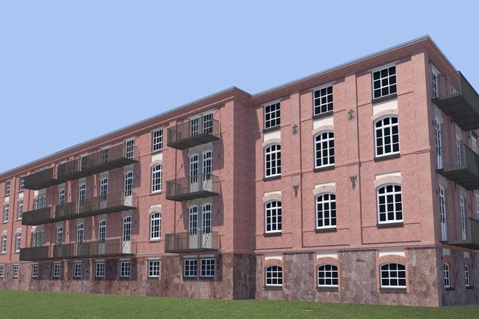 Die Backsteinfassade der alten Produktionshalle soll nach der Sanierung ihren Charakter behalten. Dahinter werden bis zu 30 Loftwohnungen entstehen.