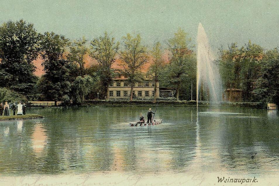 Beliebtes Postkartenmotiv, heute wie vor 100 Jahren: der Weinauteich mit der Gaststätte.