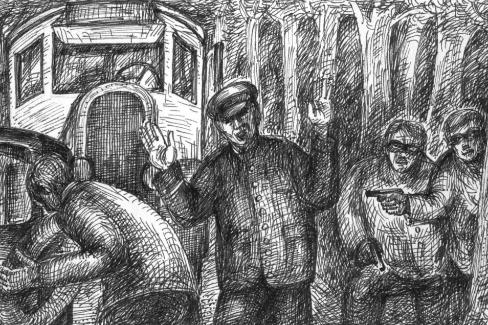Postraub am Morgen des 1. August 1931. Drei Maskierte setzten in der Dippoldiswalder Heide den Fahrer des Postautos außer Gefecht. Sie rauben Rentengelder und Wertsendungen im Wert von 21.000 Mark.