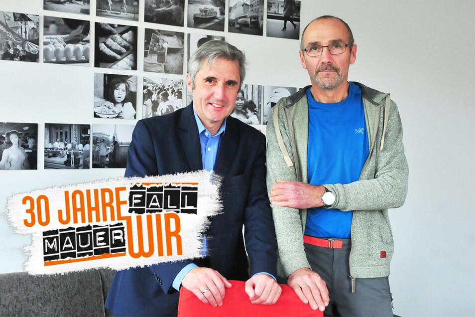 Zwei Freunde zu Besuch bei der Sächsischen Zeitung: Der Meißner SPD-Landtagsabgeordnete Frank Richter (l.) und Ex-VP-Oberleutnant Detlef Pappermann. Sie sprachen zu den Vorgängen am 8. Oktober 1989.