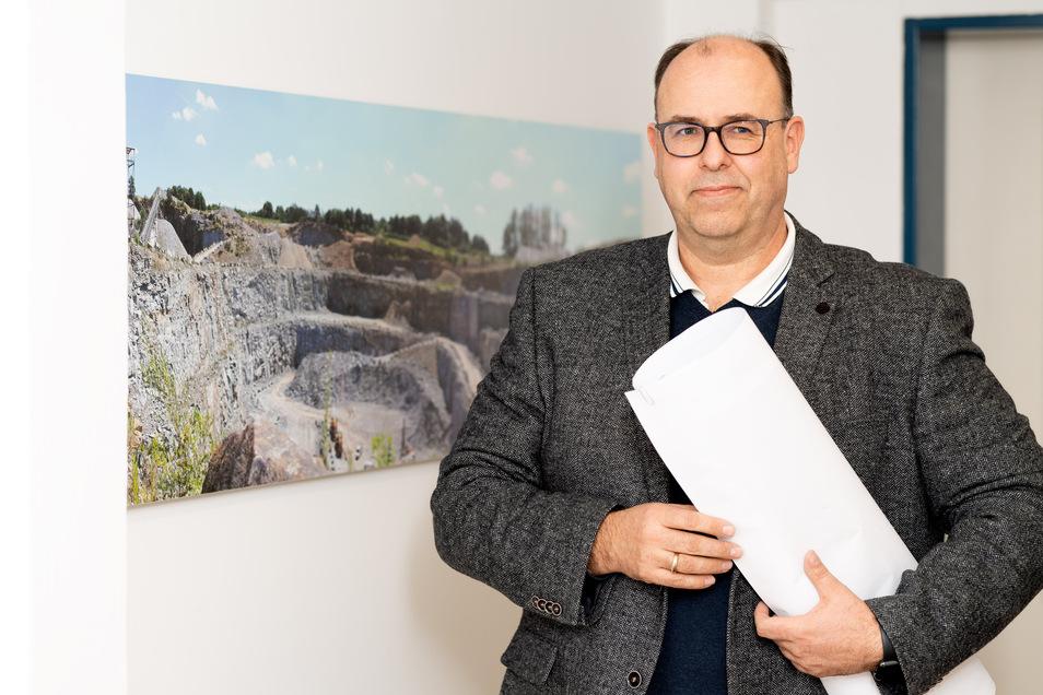 Markus Metzner leitet seit Beginn diesen Jahres das Unternehmen ProStein als Geschäfsführer. Der Baustoffproduzent mit Sitz in Bischofswerda betreibt auch den Pließkowitzer Steinbruch.
