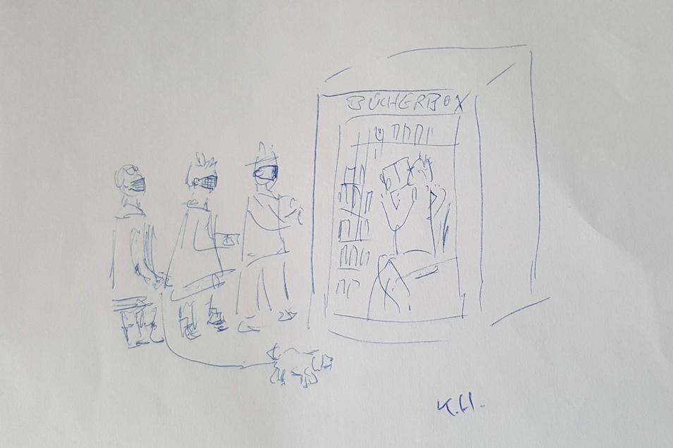 """Klaus Hausmanns Illustration zu seinem Gedicht """"Living in a Box"""" über die Görlitzer Bücherboxx."""