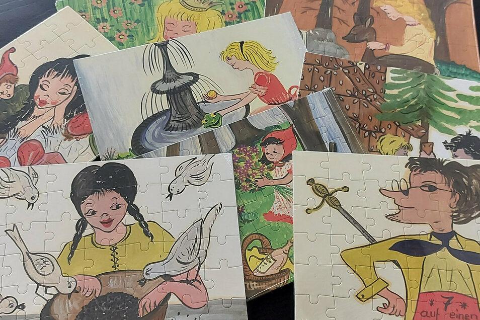 Aus diesen acht Motiven der Neugersdorferin Herta Rehm hat Ulrich Lück nun Puzzle anfertigen lassen.