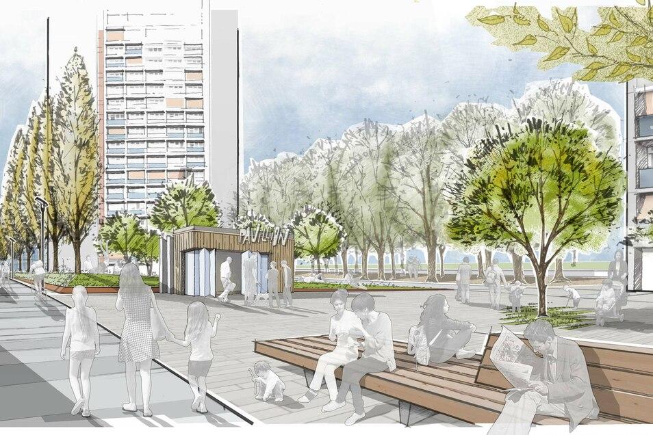 Ideen gesucht: Ein Quartiersplatz am Wohnhaus Reitbahnstraße 35 soll für alle Generationen gestaltet werden.