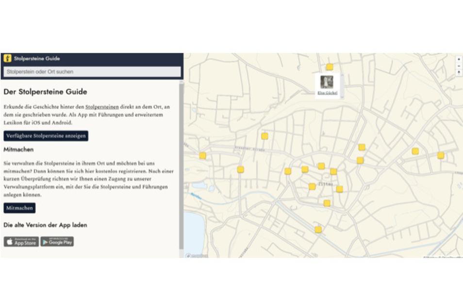 Der Stolpersteine-Guide wurde von der Sächsischen Bibliotheksgesellschaft entwickelt. Der Inhalt wird von Initiativen und Privatpersonen erarbeitet, die sich in ihrer Stadt oder ihrem Heimatort für die Verlegung und Erhaltung von Stolpersteinen engagieren