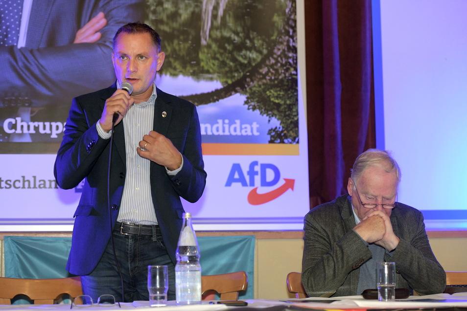 Tino Chrupalla und Alexander Gauland bei ihrem gemeinsamen Wahlkampfauftritt in Lawalde.