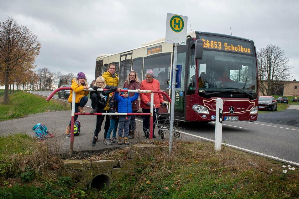 Wer mit dem Bus nach Dürrweitzschen will, muss aus Döbeln und Mochau kommend, an der Haltestelle an der S 32 aussteigen. Das ist gefährlich, weil die Fahrzeuge in diesem Bereich 100 Stundenkilometer fahren dürfen.