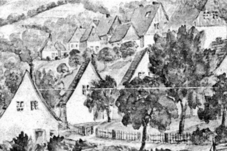 Mit im Blickpunkt einer Freitaler Kunstausstellung vom Oktober 1937: Siedlung im Grützner-Viertel, ein Aquarell von Walter Skirl.
