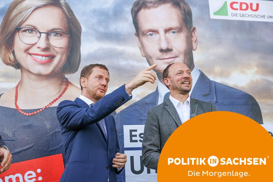 Beim Wahlkampf haben Ministerpräsident Michael Kretschmer (l.) und Spitzenkandidat Marco Wanderwitz noch gemeinsame Sache gemacht. Nun gab es für Wanderwitz parteiintern eine Art Verwarnung.