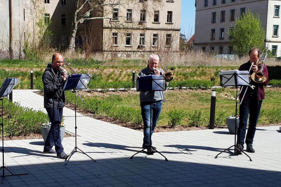 Musiker der Elbland Philharmonie gaben jetzt ein Innenhof-Konzert für Senioren aus Riesa.