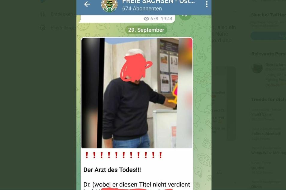 """Ohne die Unkenntlichmachungen erschien dieser Beitrag bei den """"Freien Sachsen - Ostsachsen"""". Inzwischen ist der Beitrag dort gelöscht."""