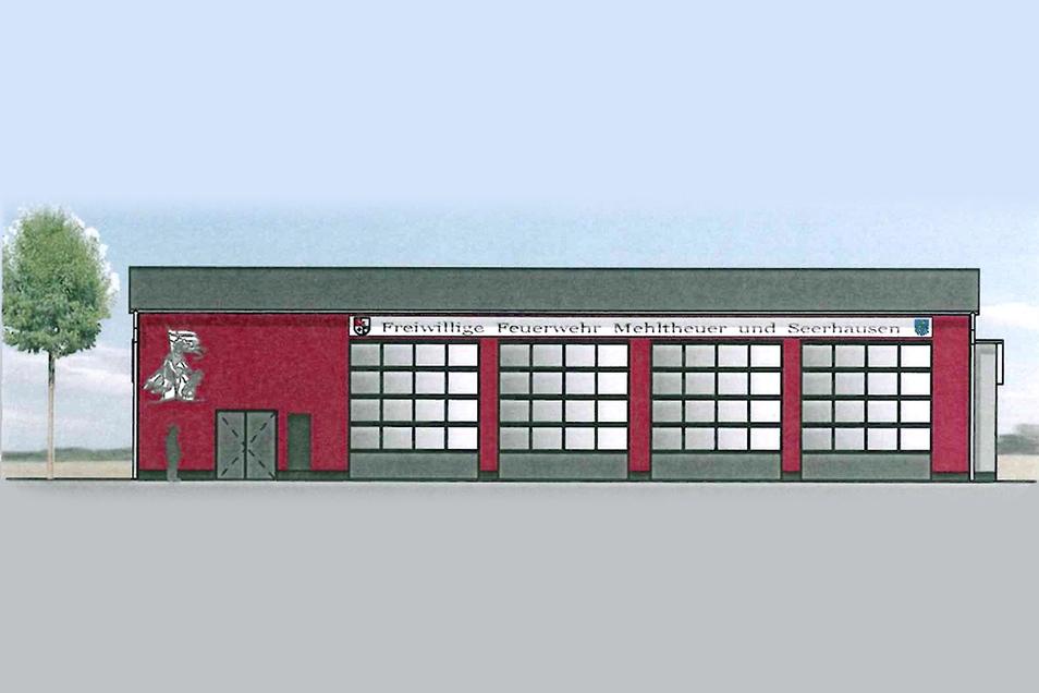 So soll es aussehen: das neue Feuerwehrgerätehaus in Mehltheuer, ein Gemeinschaftsprojekt der Gemeinden Hirschstein und Stauchitz.
