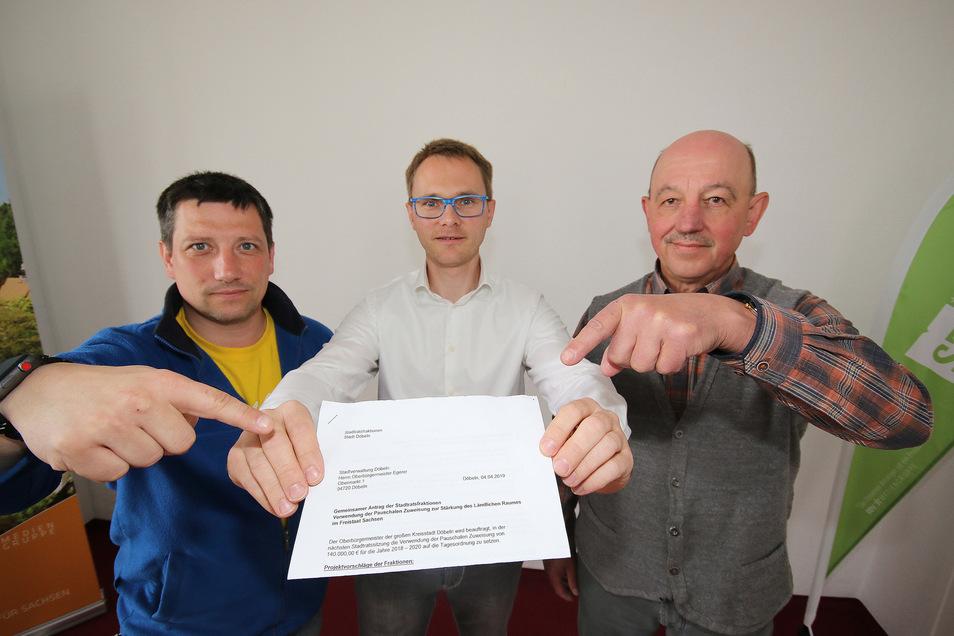 Rocco Werner (FDP), Sylvio Kolb (SPD und Dietmar Damm (Wir für Döbeln/von links) zeigen auf einen Antrag, den die drei Fraktionen gemeinsam mit den Linken bei Döbelns Oberbürgermeister eingereicht haben.