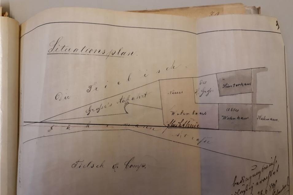 Der Plan von 1880 zeigt den L-förmigen Kopfbau an der Fährmannstraße.