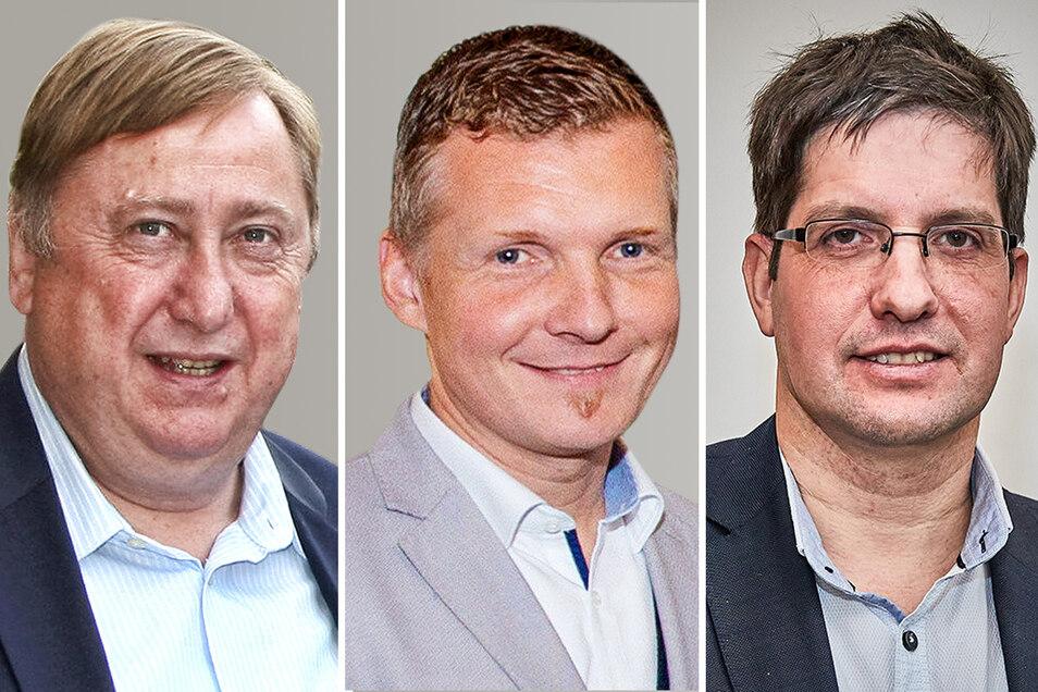 Bundestagsabgeordneter André Hahn (Die Linke), Königsteins Bürgermeister Tobias Kummer (CDU) und Landtagsabgeordneter Ivo Teichmann (AfD, v.l.) vertreten unterschiedliche Positionen zu den Vorfällen in Pfaffendorf.