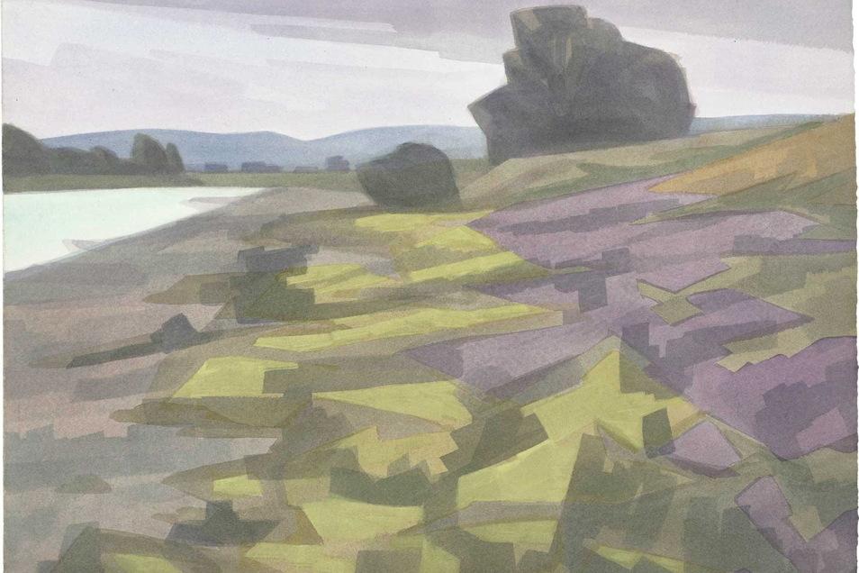 """""""Ufer"""", eine Landschaft, vermutlich an der Elbe, von Klaus Dennhardt gemalt mit Aquarellfarben im Jahr 2009."""