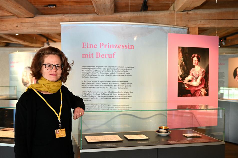 Birgit Finger hat die Ausstellung zu Prinzessin Amalie von Sachsen auf dem Weesenstein kuratiert.