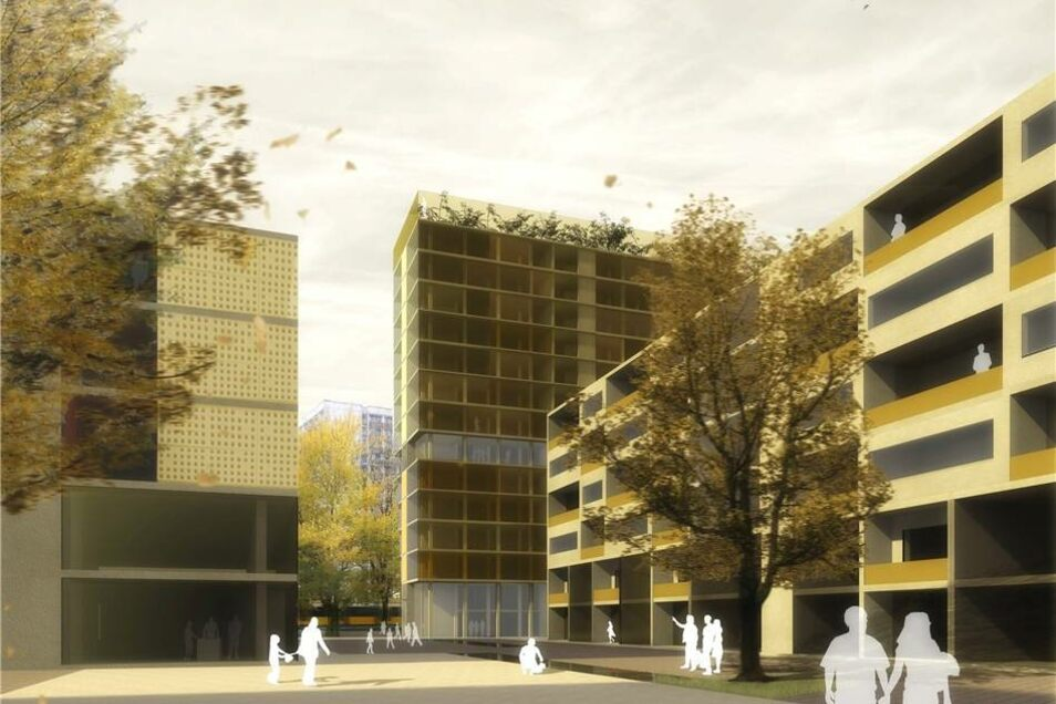 Der Gewinnerentwurf: Ein hohes Haus (Bildmitte) an der Ecke Gellertstraße/Lennéplatz könnte das künftige Quartier auch stadtweit sichtbar machen. Visualisierung: Team 51,5° Architekten