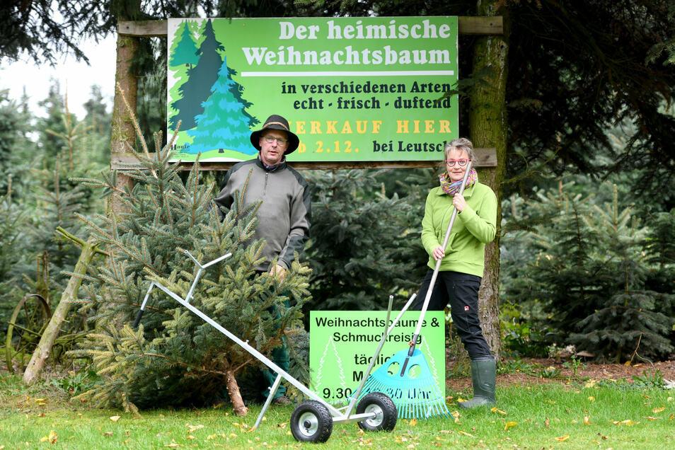 Kathrin und Thomas Queißer führen die Weihnachtsbaumplantage von Gottfried Leutsch fort.